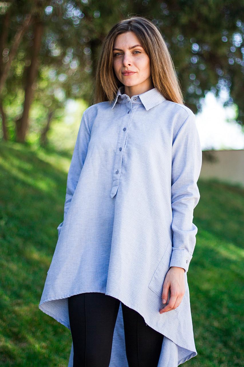Женская рубашка туника лиловая с удлиненной спинкой, длинные рукава, размеры S - XL