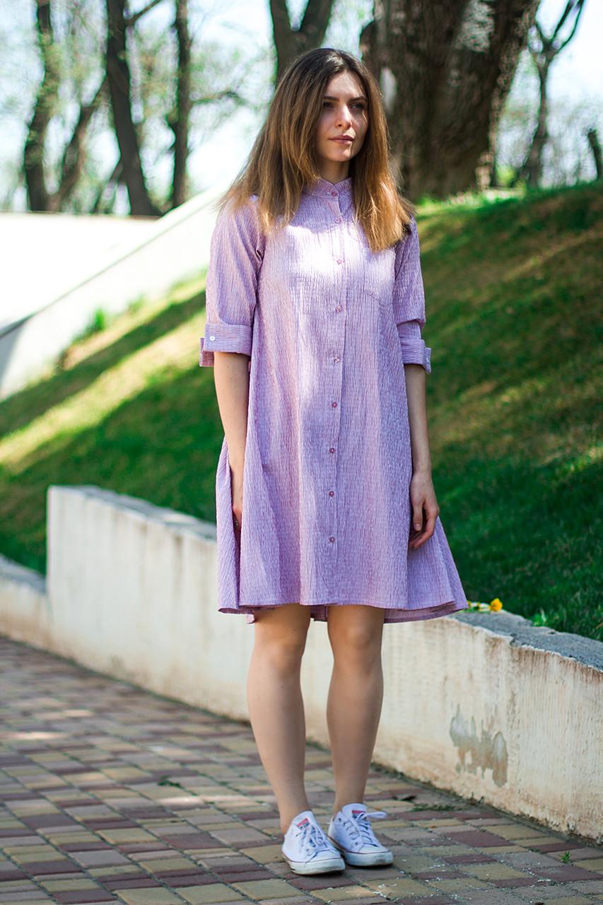 Женское рубашечное платье- туника лиловое до колен, рукав 3/4, размеры S - XL