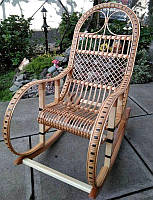 Кресло качалка ротанговая удобная светло коричневая, фото 1