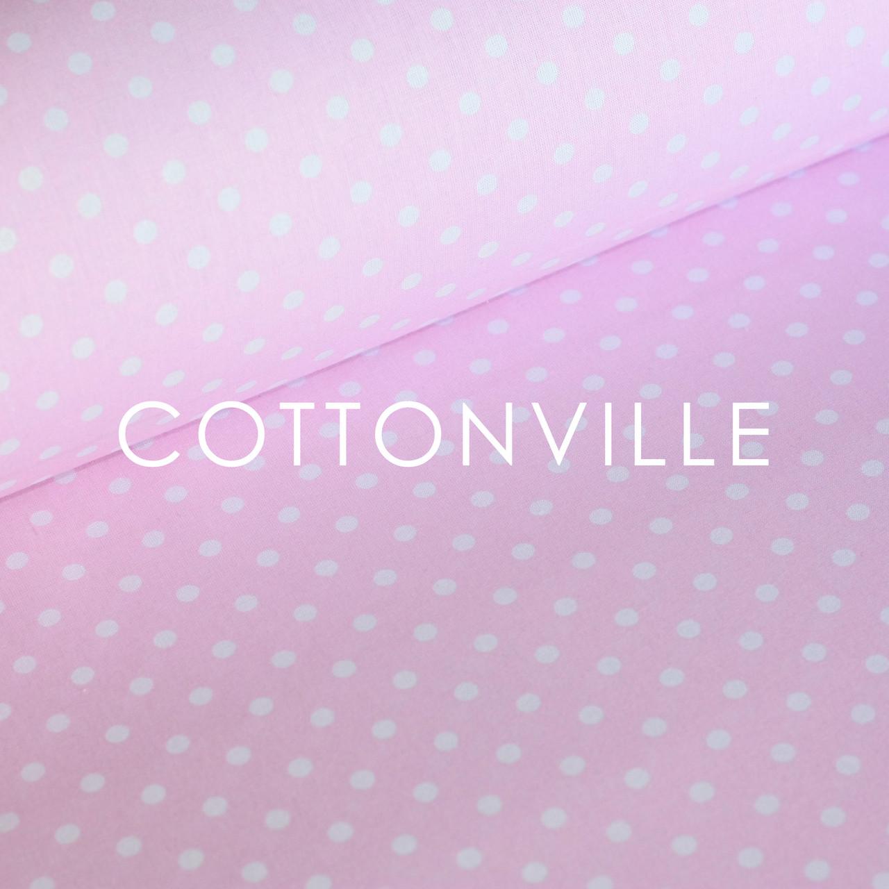 ✁ Отрезы хлопковой ткани Бязь Горошки 7 мм на розовом