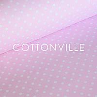 ✁ Отрезы хлопковой ткани Бязь Горошки 7 мм на розовом, фото 1