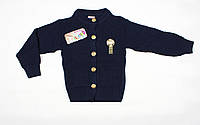Вязаный теплый кардиган для девочки темно-синего цвета, фото 1