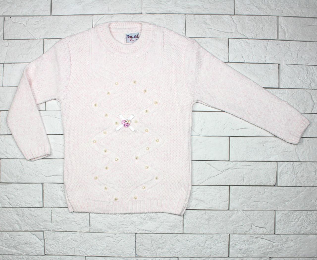 Теплый вязаный свитер нежно-розового цвета для девочки