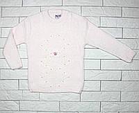 Теплый вязаный свитер нежно-розового цвета для девочки, фото 1