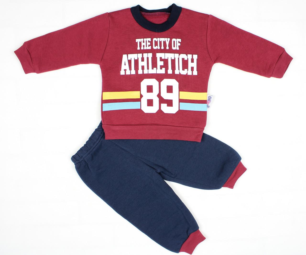 Теплый зимний спортивный костюм бордовым цветом для мальчика