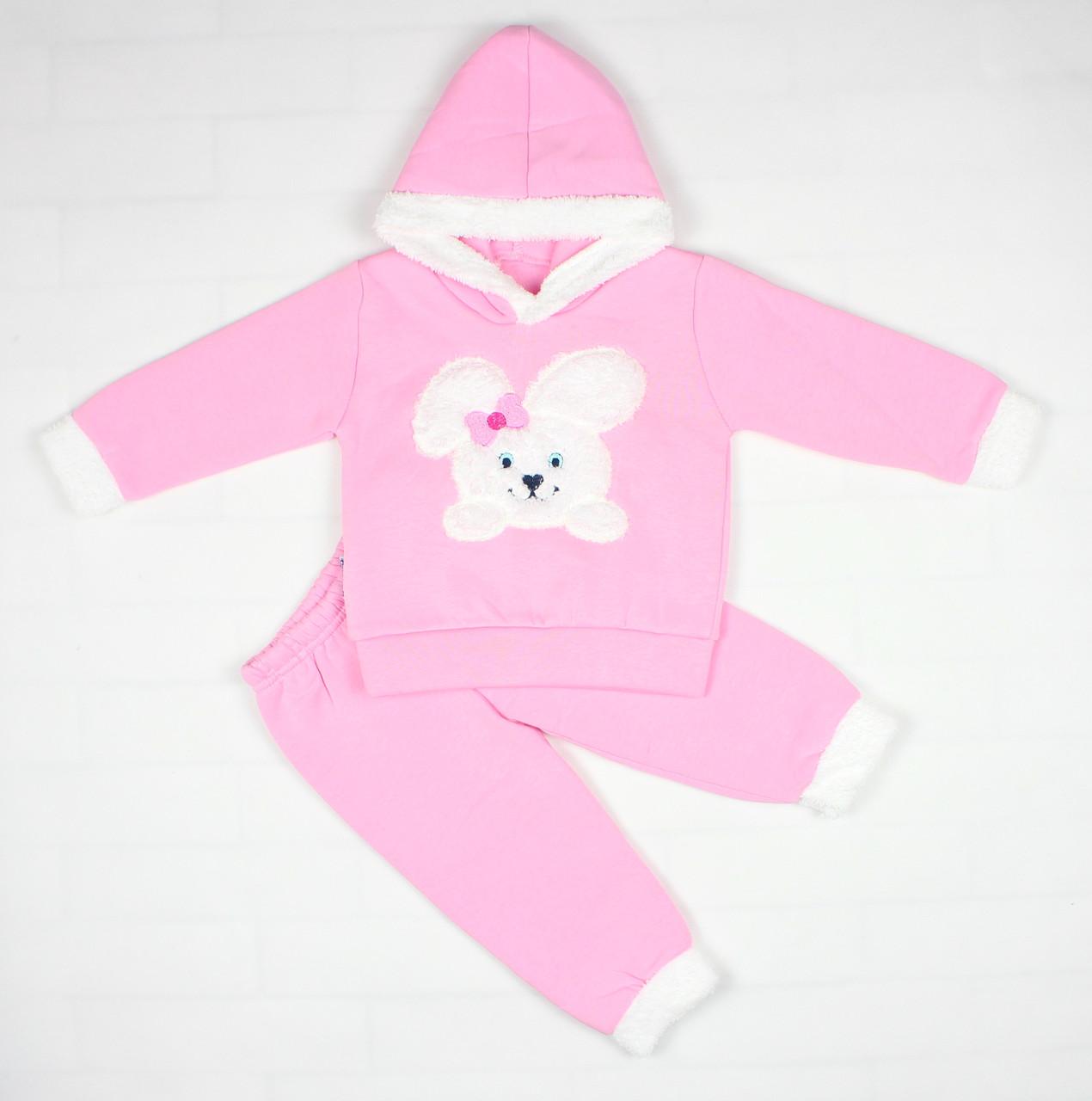 Теплый зимний розовый костюм с зайкой для ребенка