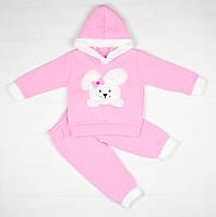 Теплый зимний розовый костюм с зайкой для ребенка, фото 1