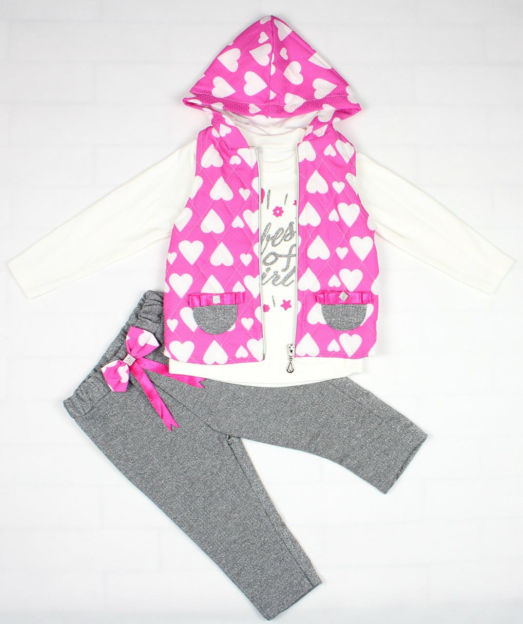 Нарядный костюм розово-серым цветом для девочки