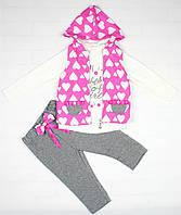Нарядный костюм розово-серым цветом для девочки, фото 1