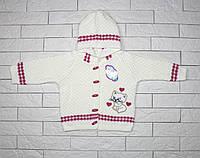 Кофта вязаная молочным цветом с капюшоном для девочки, фото 1