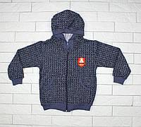 Теплая кофта темно-синяя с капюшоном для мальчика, фото 1