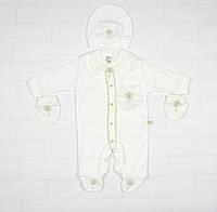 Нарядный комплект белым цветом для новорожденной девочки
