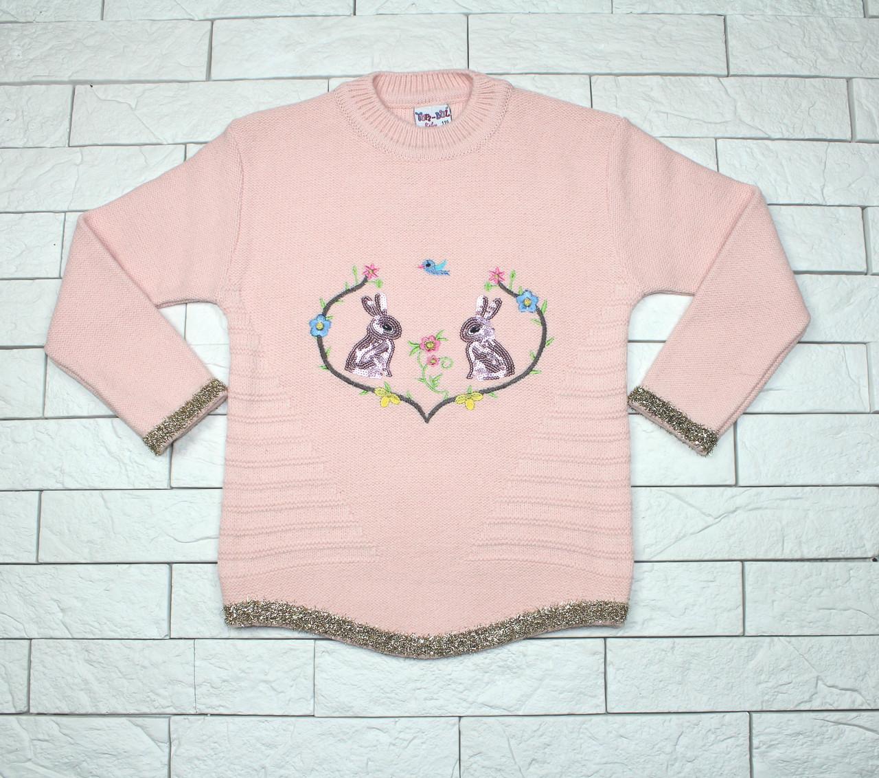 Теплый зимний свитер розовым цветом с зайчиками для девочки