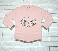 Теплый зимний свитер розовым цветом с зайчиками для девочки, фото 1