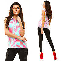 05ecadd9a52 Стильная женская рубашка без рукавов из турецкого стрейч-бенгалина в  малиновую полосу Арт-6746