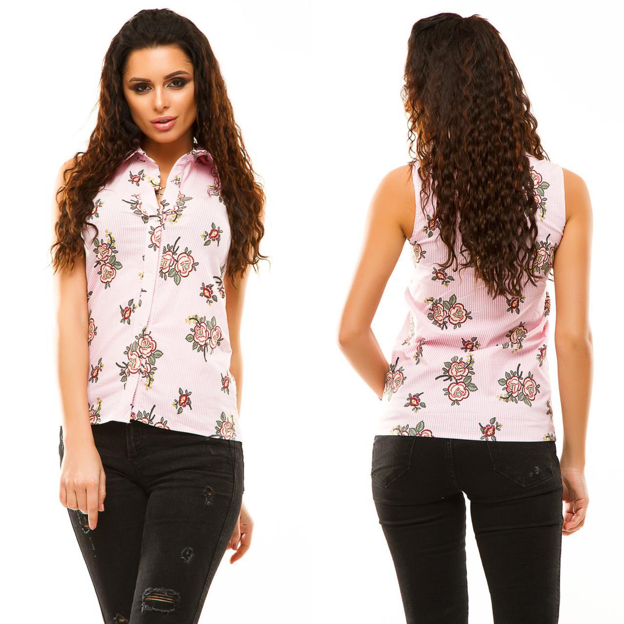 6f5bf2586ce Стильная женская рубашка без рукавов из турецкого стрейч-бенгалина в розовую  полосу принтом цветы Арт-6746 64