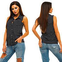 96b045f4490 Темно-синяя женская рубашка на пуговицах без рукавов в мелкий горох Арт -6747