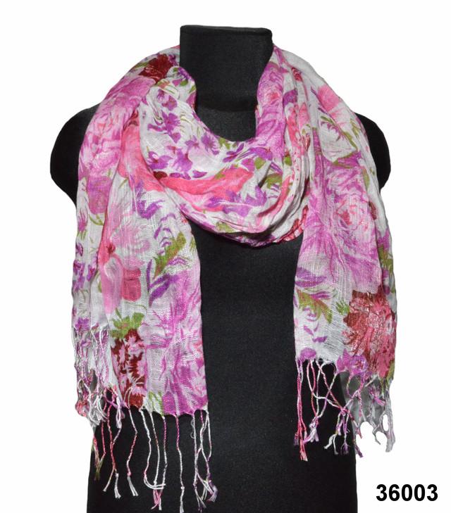 Женский розово-лиловый шарф из льна фото 1