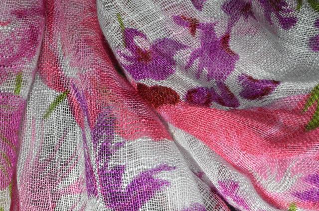 Женский розово-лиловый шарф из льна фото 2