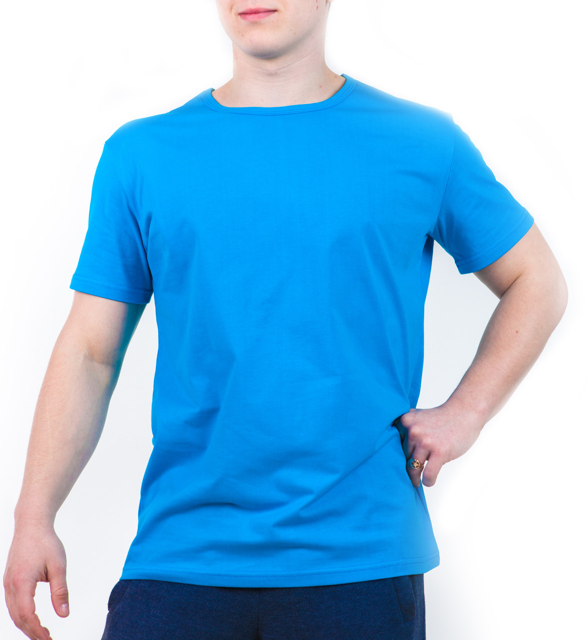 Bono Футболка мужская голубая хлопковая 000153
