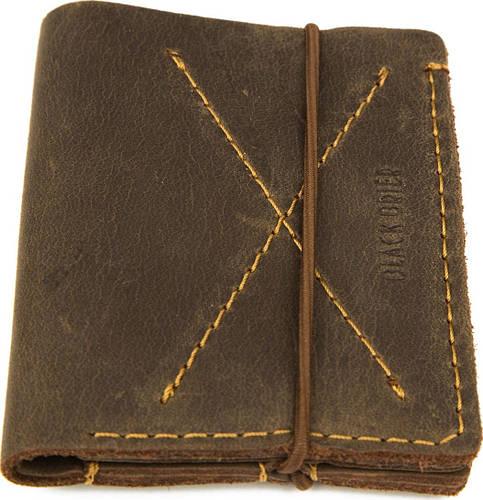 Коричневый кожаный тонкий кошелек-портмоне на резинке Black Brier П-10-33