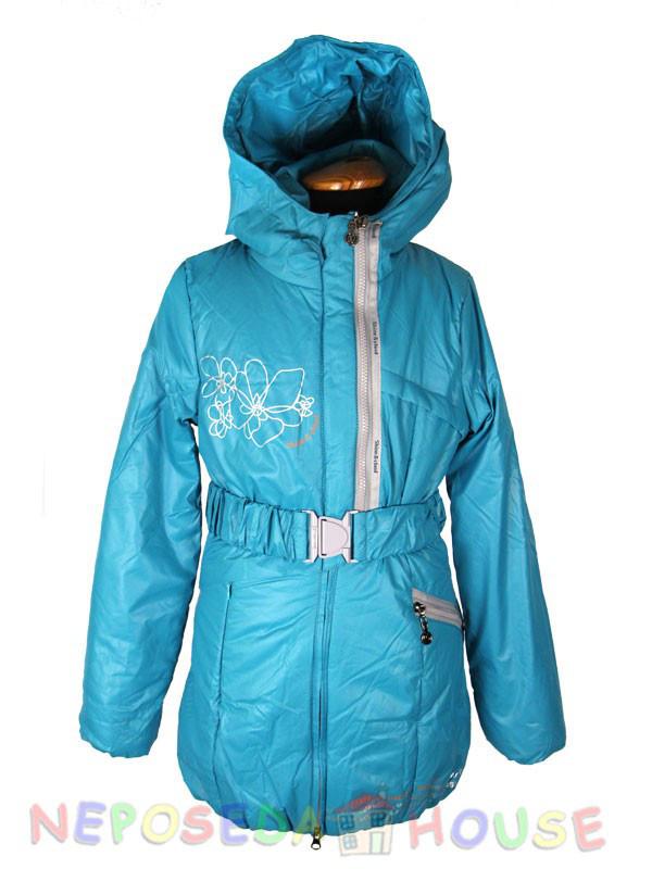 Куртка подростковая демисезонная Moonbox для девочки  от 9 до 12 лет  удлиненная бирюзовая
