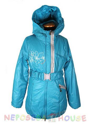 Демисезонная подростковая куртка-парка для девочки 140-158 рост Moonbox бирюзовая, фото 2
