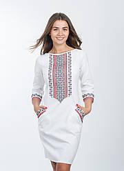 Женское платье в современном стиле с украинской вышивкой