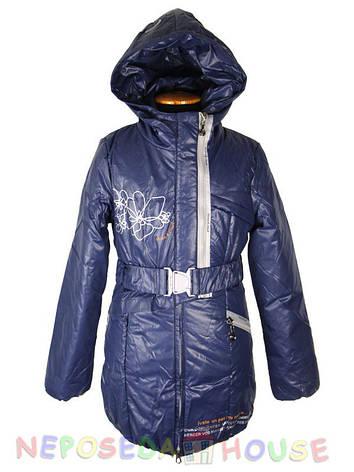 Демісезонна підліткова куртка-парку для дівчинки 140-164 зростання Moonbox синя, фото 2