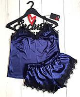 Синий шелковый комплект майка и шорты