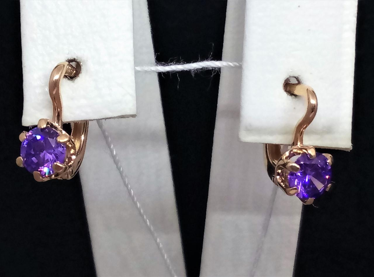 Золотые серьги с фианитами. Артикул 110449Ф