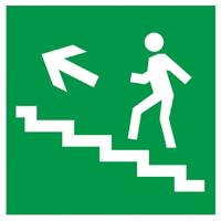"""Самоклеящаяся этикетка 50х50мм """"Направление к эвакуированому выходу по лестнице налево вверх"""""""