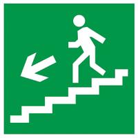 """Самоклеящаяся этикетка 50х50мм """"Направление к эвакуированому выходу по лестнице налево вниз"""""""