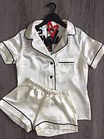 Пижама рубашка и шорты женская из атласа
