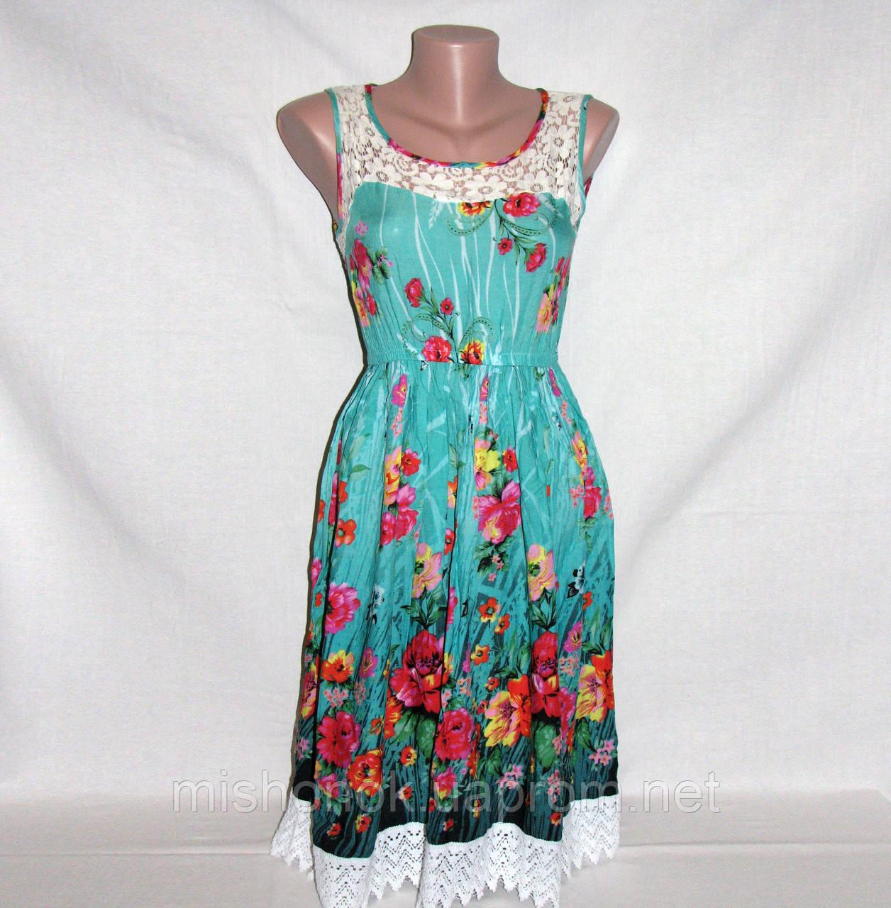 Платье красивое летнее с кружевом и цветочным принтом р.44-46