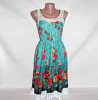 Платье красивое летнее с кружевом и цветочным принтом р.44-46, фото 1