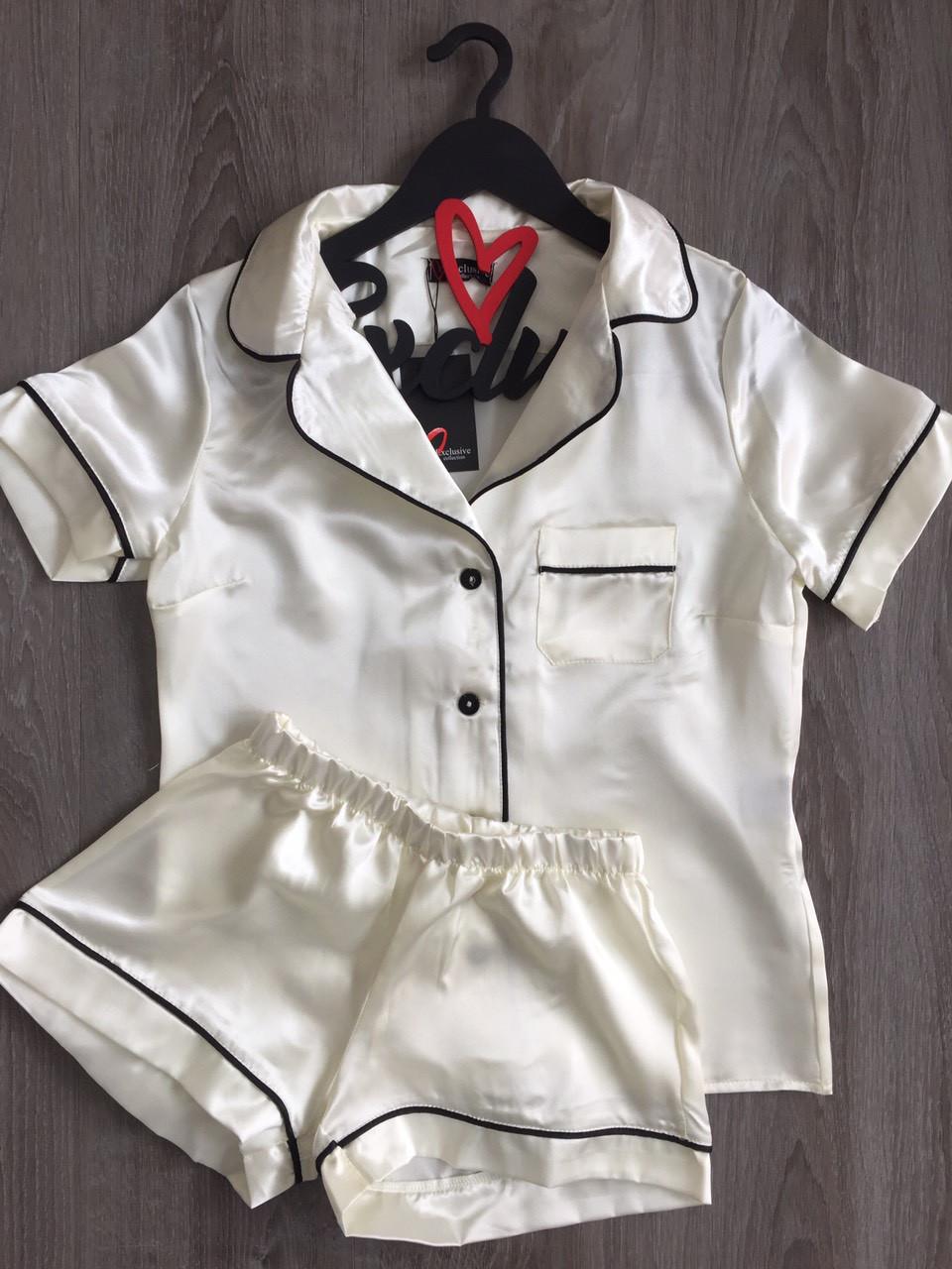Атласная рубашка и шорты,женская пижама