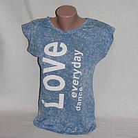Футболка майка голубая с надписью принтом Love р.44-46 S M