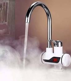 Мгновенный проточный водонагреватель с лед экраном  Делимано, бойлер, кран смеситель Delimano с led экраном