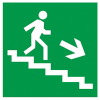 """Самоклеящаяся этикетка 150х150мм """"Направление к эвакуированому выходу по лестнице направо вниз"""""""