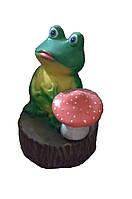 Садовая фигура Лягушка с грибом на пенёчке 25 см