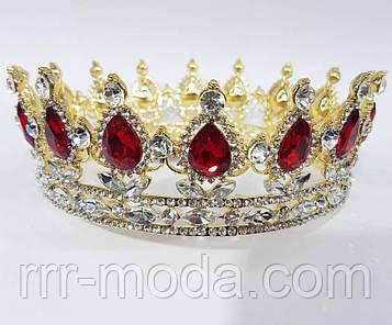 218 Высокие золотые короны с красными камнями. Элитные свадебные короны оптом.