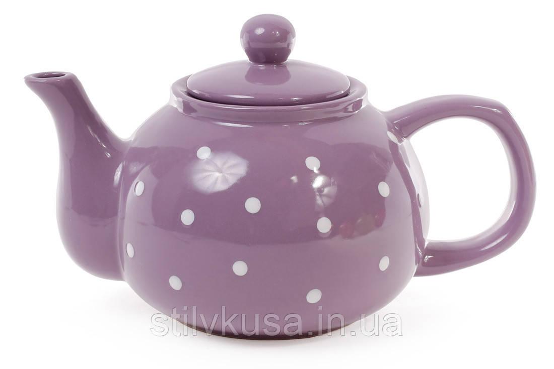 Чайник фиолетовый в белый горошек