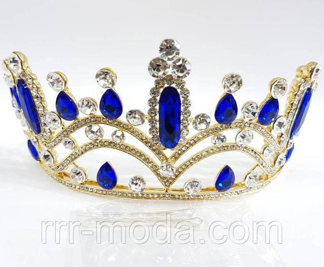 Бижутерия RRR свадебные тиара, корона с синими камнями, диадема.