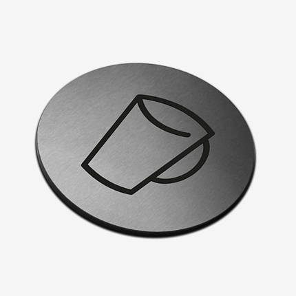 """Табличка кругла """"Чашка"""" Stainless Steel, фото 2"""
