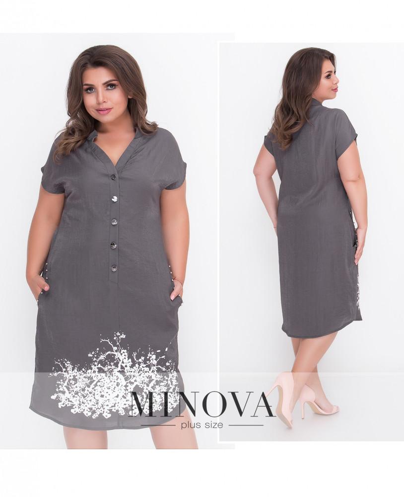 Жіноча сукня прямого покрою з полірованого льону  продажа 0b34a84590710