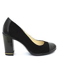 Туфли замшевые черные каблук 37