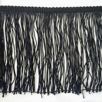 Бахрома танцювальна чорна (лапша, локшина) для одягу 15 см, тасьма 1 см, довжина ниток 14 см, фото 1