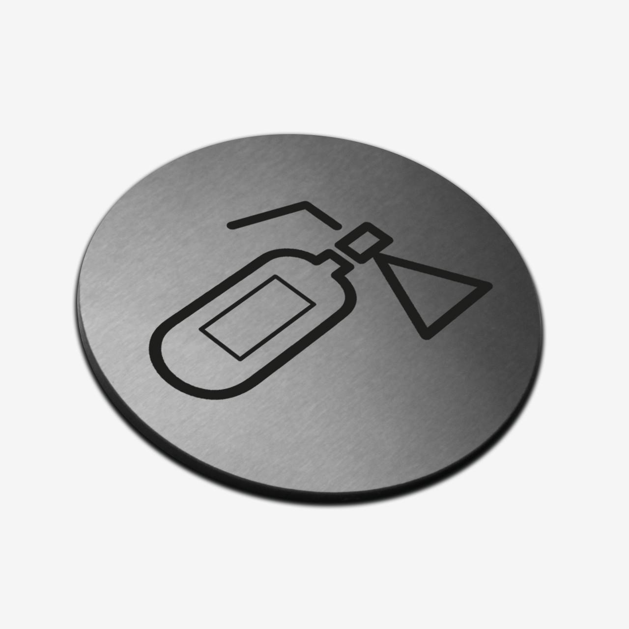 "Табличка круглая ""Огнетушитель"" Stainless Steel"