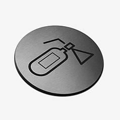 """Табличка кругла """"Вогнегасник"""" Stainless Steel"""